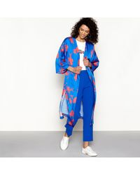 House of Holland - Blue Satin Floral Print Kimono - Lyst
