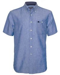 Raging Bull - Short Sleeve Linen Sky Blue Shirt - Lyst