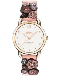 COACH - Delancey Watch With Floral Applique, 36mm - Lyst