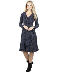Izabel London - Navy Frill Spotted Front Wrap Dress - Lyst