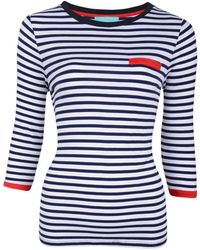 Fever - Navy Striped 'daria' Jersey Top - Lyst