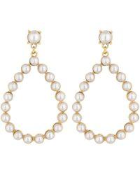 Lipsy - Pearl Pear Drop Hoop Earrings - Lyst