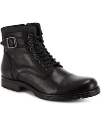 Jack & Jones - Black Leather 'albany' Lace Up Boots - Lyst