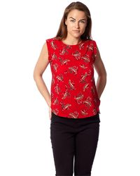 Izabel London - Red Printed Shell Top - Lyst