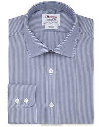 Tm Lewin - Slim Fit Navy Bengal Stripe Short Sleeve Length Shirt - Lyst