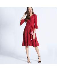 d17e98f7285f Preen By Thornton Bregazzi Red Floral Stripe Jersey High Low Tea ...