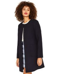 Oasis - Navy Collarless Coat - Lyst
