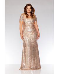 Quiz - Curve Rose Gold Sequin Maxi Dress - Lyst