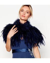 Jenny Packham - Navy Feather Shrug - Lyst