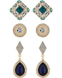 Red Herring - Green And Blue Crystal Baroque Stud Earings Set - Lyst