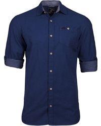 Raging Bull - Short Sleeve Chambray Dobby Navy Shirt - Lyst