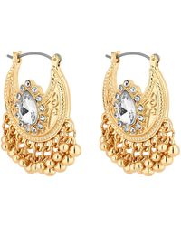 Red Herring - Gold Plated Clear Ball Jangle Hoop Earrings - Lyst