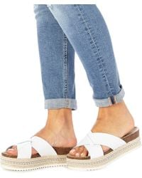 Faith - White Leather 'jarb' Mid Flatform Heel Sandals - Lyst