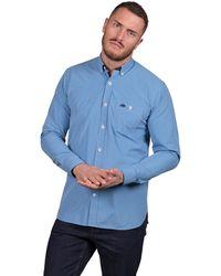 Raging Bull - Mid Blue Long Sleeve Small Gingham Shirt - Lyst