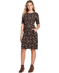 Lands' End - Brown Shift Dress In Patterned Ponte Jersey - Lyst