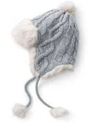 8961a522dd0 Lands  End - Grey Chunky Cable Peruvian Hat - Lyst
