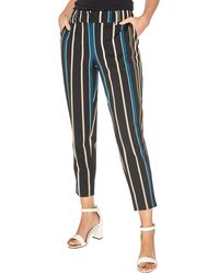 Dorothy Perkins - Camel And Teal Striped Textured Ankle Grazer Trousers - Lyst