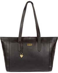 209bf3a52dac Cultured London Black  penny  Leather Tote Bag in Black - Lyst