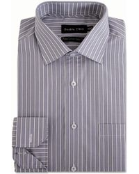 Double Two - Big And Tall Grey Varied Stripe Formal Shirt - Lyst