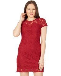 Izabel London - Red Short Sleeved Lace Dress - Lyst