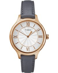 Timex - Ladies Style White Dial With Grey Leather Strap Watch - Lyst