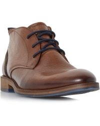 Dune - Tan 'callahan' Distressed Leather Chukka Boots - Lyst