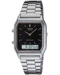 G-Shock - Unisex Silver Rectangular Dial Bracelet Watch Aq-230a-1dmqyes - Lyst