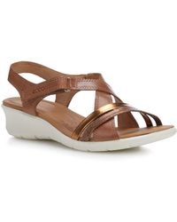 Ecco - Brown Leather 'felicia' Mid Wedge Heel Sandals - Lyst