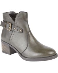 Lotus - Olive Leather 'tapti' Mid Block Heel Ankle Boots - Lyst