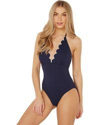Dorothy Perkins - Beach Navy Scallop Edge Swimsuit - Lyst