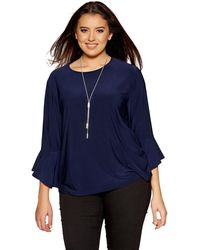 Quiz - Curve Navy Frill Sleeves Necklace Top - Lyst
