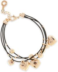 Pilgrim - Rose Gold Plated Hearts Triple Cord Bracelet - Lyst