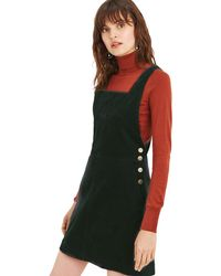 Oasis - Dark Green Cord Pinafore Dress Dress - Lyst