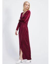 Miss Selfridge - Burgundy Devore Animal Maxi Dress - Lyst