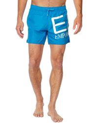 Armani - Blue Logo Print Swim Shorts - Lyst