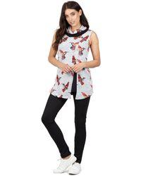 Izabel London - Grey Sleeveless Bird Print Tunic Top - Lyst