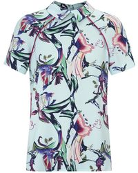 Cooper & Ella - Theresa Turquoise Floral Print Crepe Top - Lyst