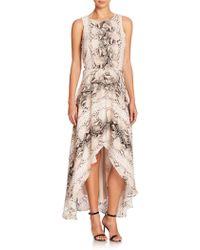 Haute Hippie Cutout-Back Python-Print Silk Hi-Lo Dress - Lyst