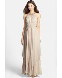 Eliza J Embellished Tiered Chiffon Gown - Lyst