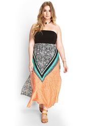 Forever 21 Strapless Abstract Maxi Dress - Lyst
