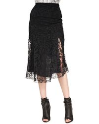 Burberry Prorsum Fluted Lace Midi Skirt - Lyst