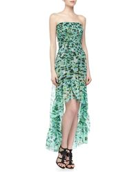 Alberto Makali Smocked Ruffled Cheetah Print Highlow Dress - Lyst