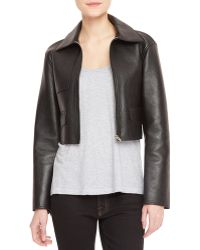 Alexander Wang Leather-front Knit-back Cropped Moto Jacket - Lyst