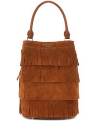 Burberry Prorsum - Fringed Suede Bucket Bag - Lyst