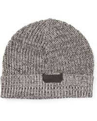 Diesel Gray Knitted Hat - Lyst