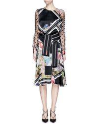 Preen By Thornton Bregazzi | 'erin' Chevron Floral Print Belted Dress | Lyst