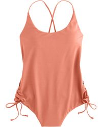 J.Crew Italian Matte Ruched Cross-Back One-Piece Swimsuit brown - Lyst