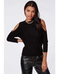 Missguided Fine Knit Cold Shoulder Knitted Jumper Black - Lyst