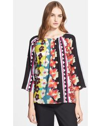Etro Print Silk Peasant Top - Lyst