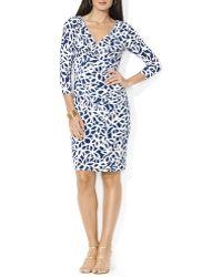 Ralph Lauren Lauren Dress  Three Quarter Sleeve Print Jersey - Lyst